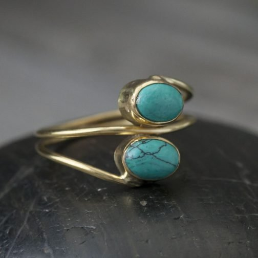 Brass two stone band ring with Turquoise stone.