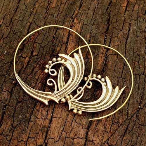 Brass Dot Wave Spiral Earrings
