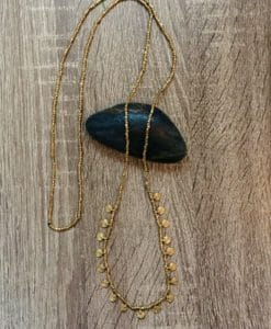 brass long tribal drop necklace