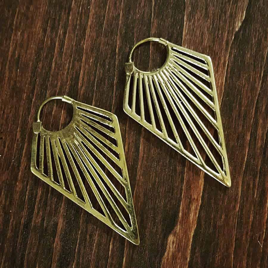 tribal sun ray earring