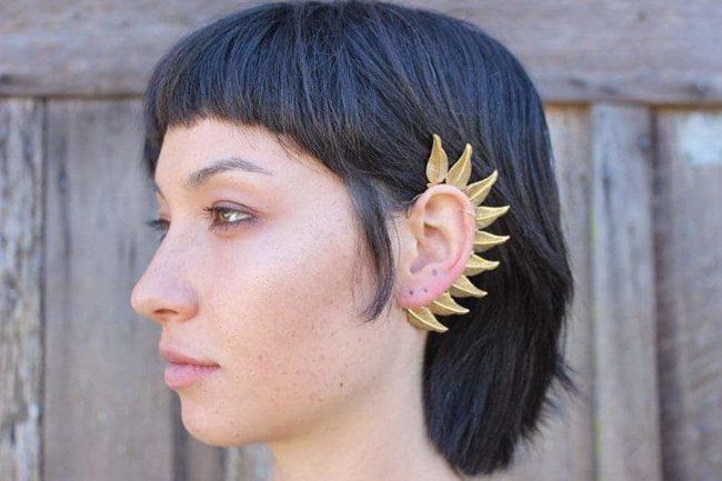 feathered ear cuff