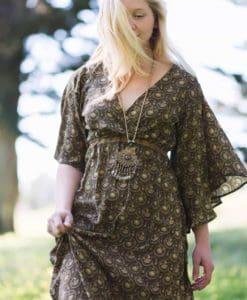100% silk sleeve dress