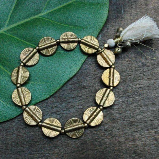 brass disc bracelet
