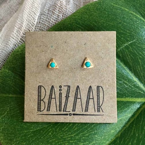 turquoise droplet studs