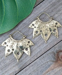 carved leaf earring