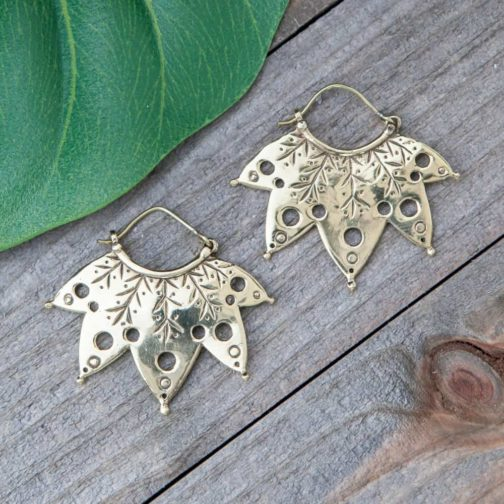 carved leaf earring