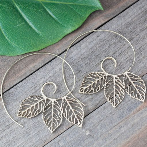 triple leaf spiral earring