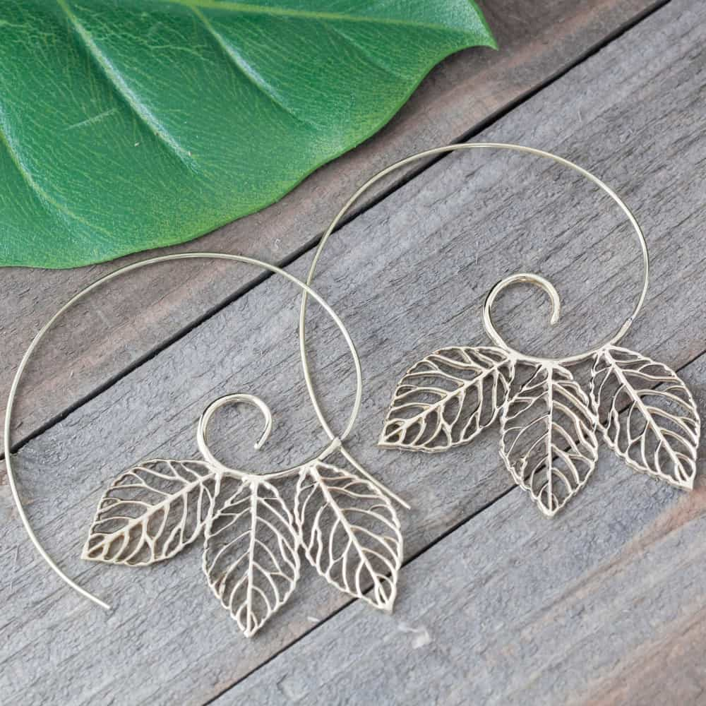 triple leaf spiral earring
