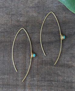 thread stone earring