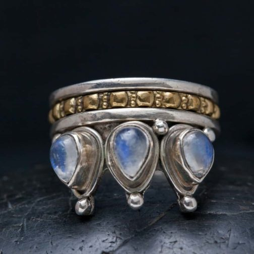moonstone crown spinner ring