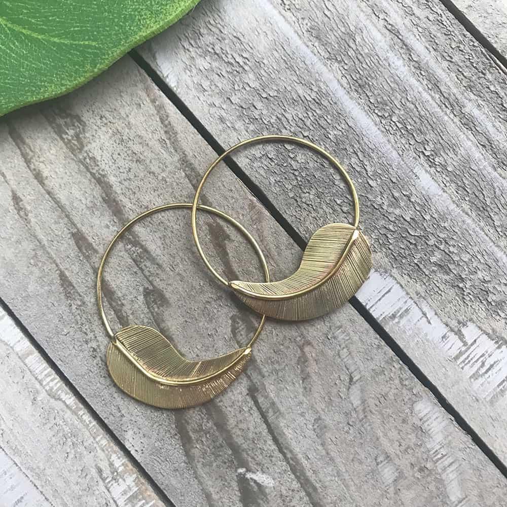 brass floating leaf earring