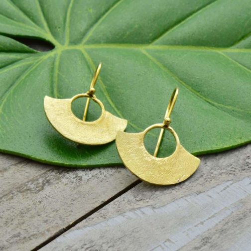 brushed fan earrings