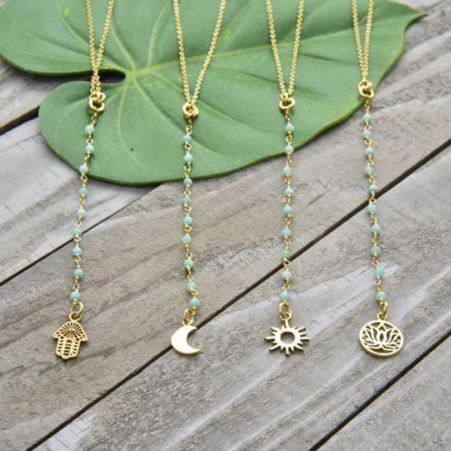 amazonite lariat charm necklace