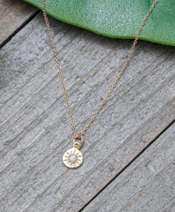 tiny compass necklace with crystal