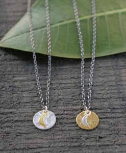 mixed metal moon necklace