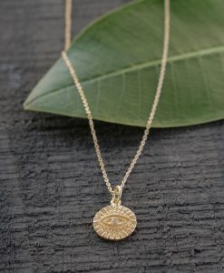 etched evil eye gold plated necklace