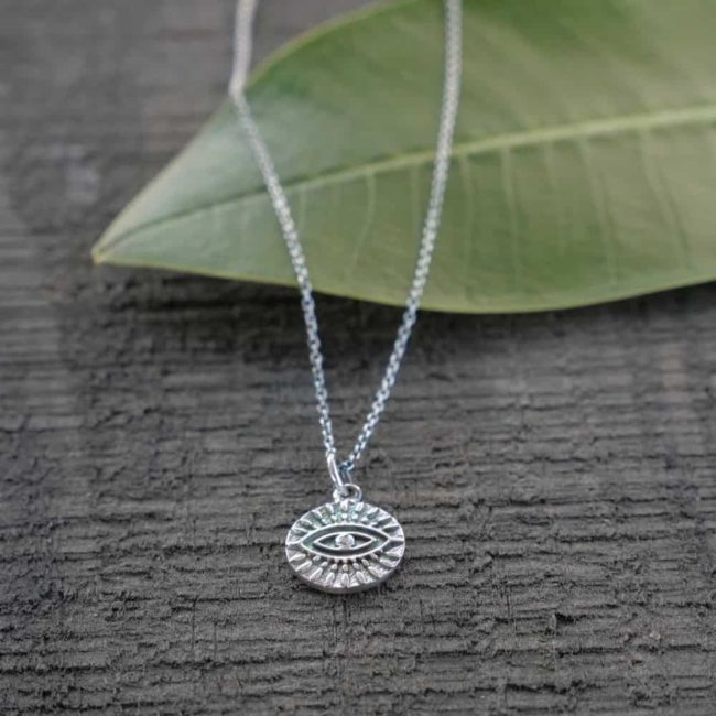 etched evil eye silver necklace
