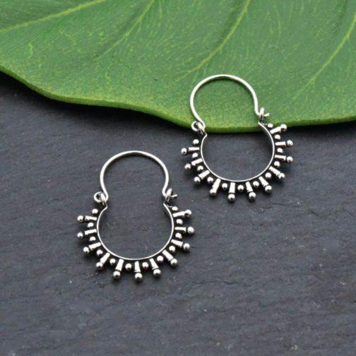 solar silver hoops