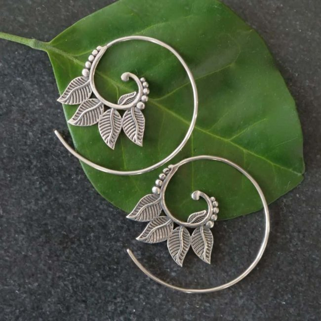 four leaf silver spiral earrings