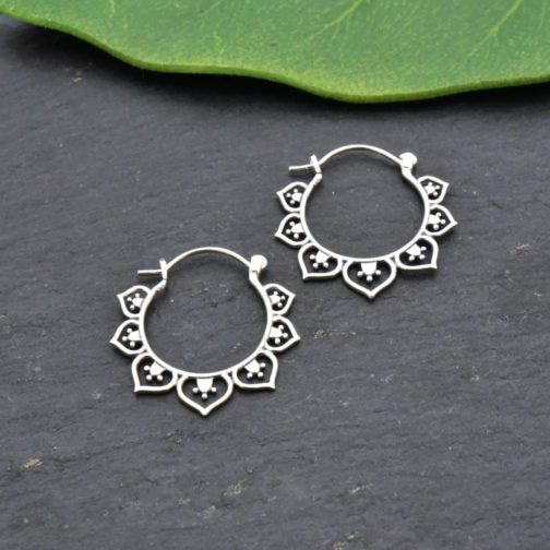 lotus deco silver hoops earrings