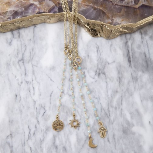 Full collection of Baizaar Jewelry's brass amazonite beaded strand and charm necklaces.