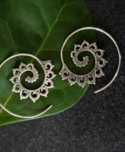 Lotus Silver Spiral Earrings