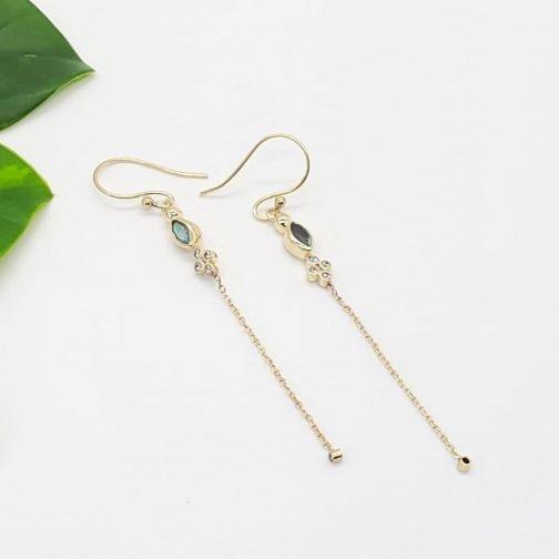 Labradorite and zircon brass chain drop earrings.