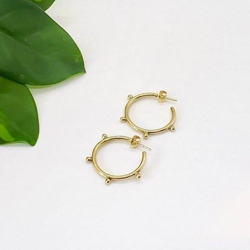 Studded Brass Hoop Earrings.