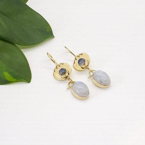 Brass Desert Stone Earring set.