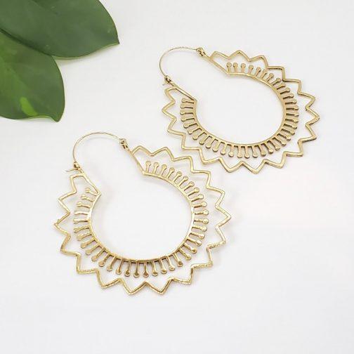 Wave Hoops brass earrings from Baizaar Jewelry.