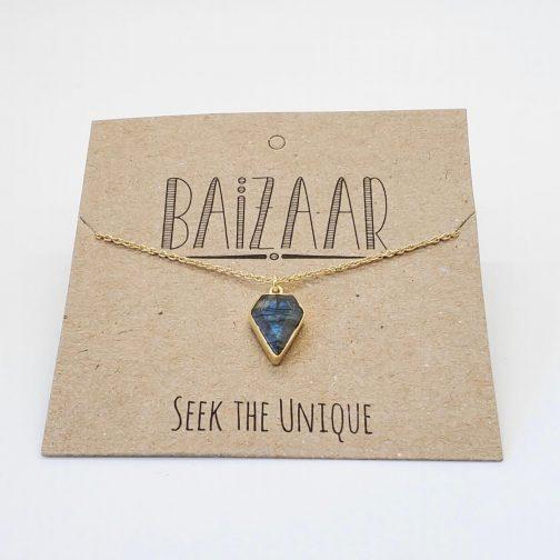 Brass with Labradorite Arrow Necklace.