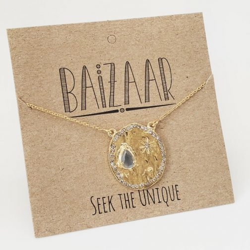 Handmade polished brass Universe necklace with labradorite and crystal, by Baizaar Jewelry.