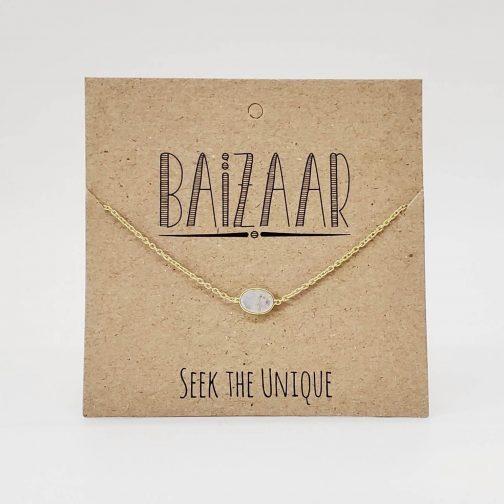 Dainty Stone Chain with moonstone by Baizaar Jewelry