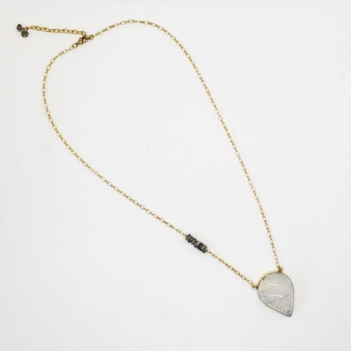 Aura Necklace with teardrop moonstone on brass chain with faceted labradorite beads.